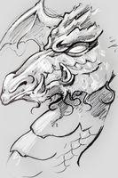 Dragon, Tattoo sketch, handmade design over vintage paper