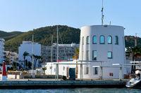 Port of Santa Eulalia. Santa Eulalia is a beautiful town and resort on the East coast of the Ibiza island. Spain