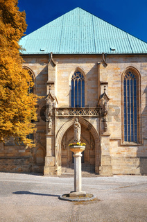 Back part of the Erfurt Cathedral and Collegiate Church of St Mary in Erfurt, Thuringia, Germany