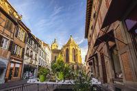 Colmar France, City skyline at Saint Martin Cathedral
