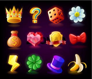 Colorful slots icon set N2 for casino slot machine, gambling games