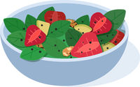 Fruits salad. flat Vector illustration. Concept of healthy eating