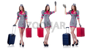 The woman with suitacases preparing for summer vacation