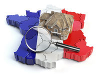 House and loupe on the map of France in colors of french flag. Search a house for buying or rent concept. Real estate development in France.