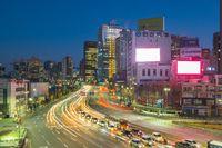 Seoul city traffic in Korea at night