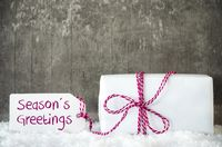 White Gift, Snow, Label, Text Seasons Greetings