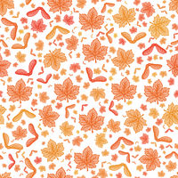 autumn themed modern sycamore leaf and seeds repeating modern pattern design in brown and yellow colors