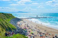 People ocean beach. Biarritz, France