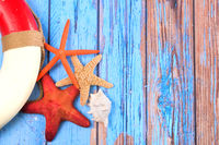 Beach poster with starfishes
