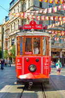 Tram in Istiklal street in Istanbul