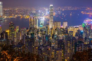 Night view of Hong Kong cityscape in Hong Kong, China