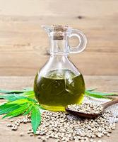 Oil hemp in glass decanter on board