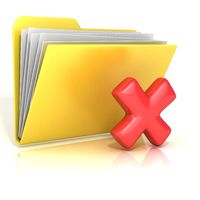 Negative, red check mark folder icon, 3D