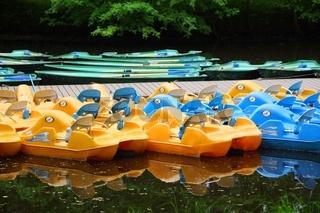 Parking plastic pleasure boats on Krestovsky Island