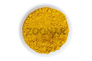 Curry Pulver Currypulver Gewürz von oben isoliert freigestellt Freisteller