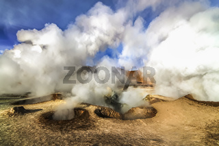 Hot steam pool geysersat Sol de Manana, Bolivia