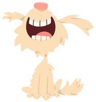 happy shaggy dog cartoon character