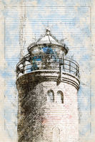 Digital artistic Sketch of a Lighthouse in St. Peter-Ording in Germany