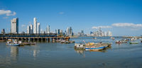 Fisher boats near fish market in Panama City with skyline background