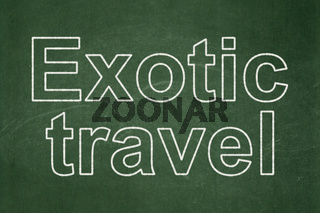 Vacation concept: Exotic Travel on chalkboard background