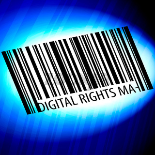 Digital Rights Management - barcode with blue Background