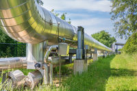 Large metal gas pipeline transporting gas