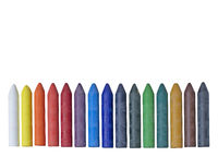 Wax crayons in assorted colors isolated on white