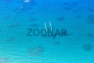 Schiff Boot Meer Schiffswrack Urlaub tauchen Textfreiraum Copyspace Malediven Luftbild