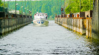 tourist boat in the Mantova Italy canal