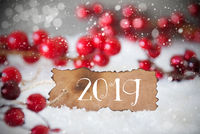 Burnt Label, Snow, Snowflakes, Text 2019, Red Christmas Decoration