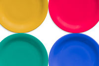 Colorful ceramic round plate. Isolated white background