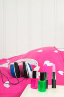 Head phones on bed