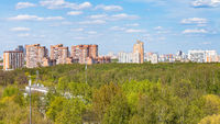 panoramic view of park and residential district