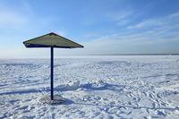 parasol on a winter beach