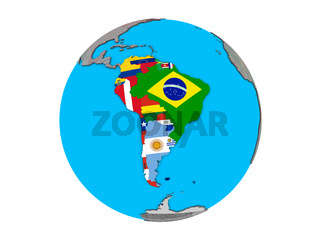 South America with flags on globe isolated