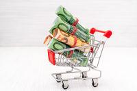 Shopping cart full of roll Euros