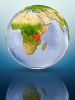 Tanzania on globe