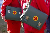 Leather medical bags with red crosses