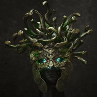 Head Medusa, creature of Greek mythology. pieces made by hand with goldsmiths and metals such as gold and copper. wears a helmet of green and gold snakes