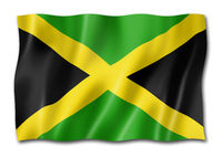 Jamaican flag isolated on white