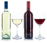 Wein Flaschen Weinflaschen Weingläser Gläser Rotwein Weißwein Alkohol freigestellt Freisteller