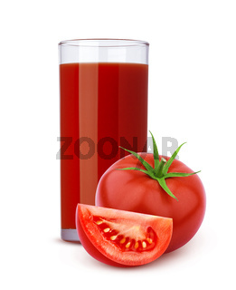 Glass of tomato juice and cut tomatoes isolated on white background