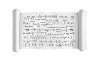 White scroll with lot of hand-drawn complicated scientific formulas and calculations, blueprint plan on white