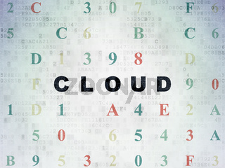 Cloud networking concept: Cloud on Digital Data Paper background
