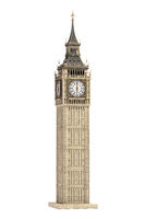 Big Ben Tower the architectural symbol of London, England and Great Britain Isolated on white background