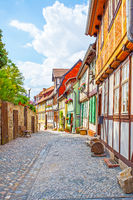 Old street in Quedlinburg in Germany
