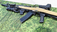 Russian rifle with under-barrel grenade launcher