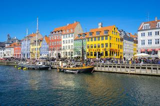 View of Nyhavn pier with color buildings in Copenhagen city, Denamrk