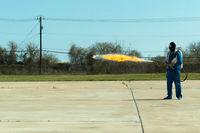 Flamethrower in action. Flamethrower operational test