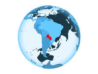 Paraguay on blue globe isolated